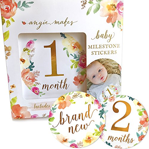 Baby Monthly Milestone Stickers | 16 Floral Belly Stickers for Girls 0-12 Months | Premium Gold Metallic Design | Perfect for Baby Shower Gifts, Registry, First Year Newborn Photography | Angie Makes by Angie Makes