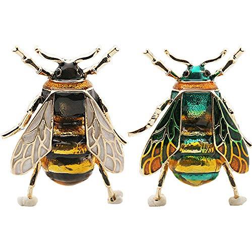 Enamel Beetle Insect Brooch Pin Fashion Jewelry Gifts for Women/Men (Bee brooch-2pcs) ()