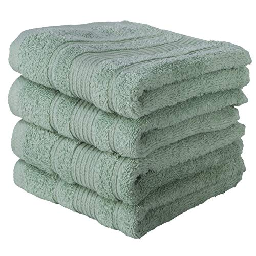 Qute Home Hand Towels - 4 Pack, (16 x 30 inches) | 100% Turkish Cotton | Super Soft Highly Absorbent | Spa & Hotel Quality Towels (Green) (Seafoam Towels Hand)
