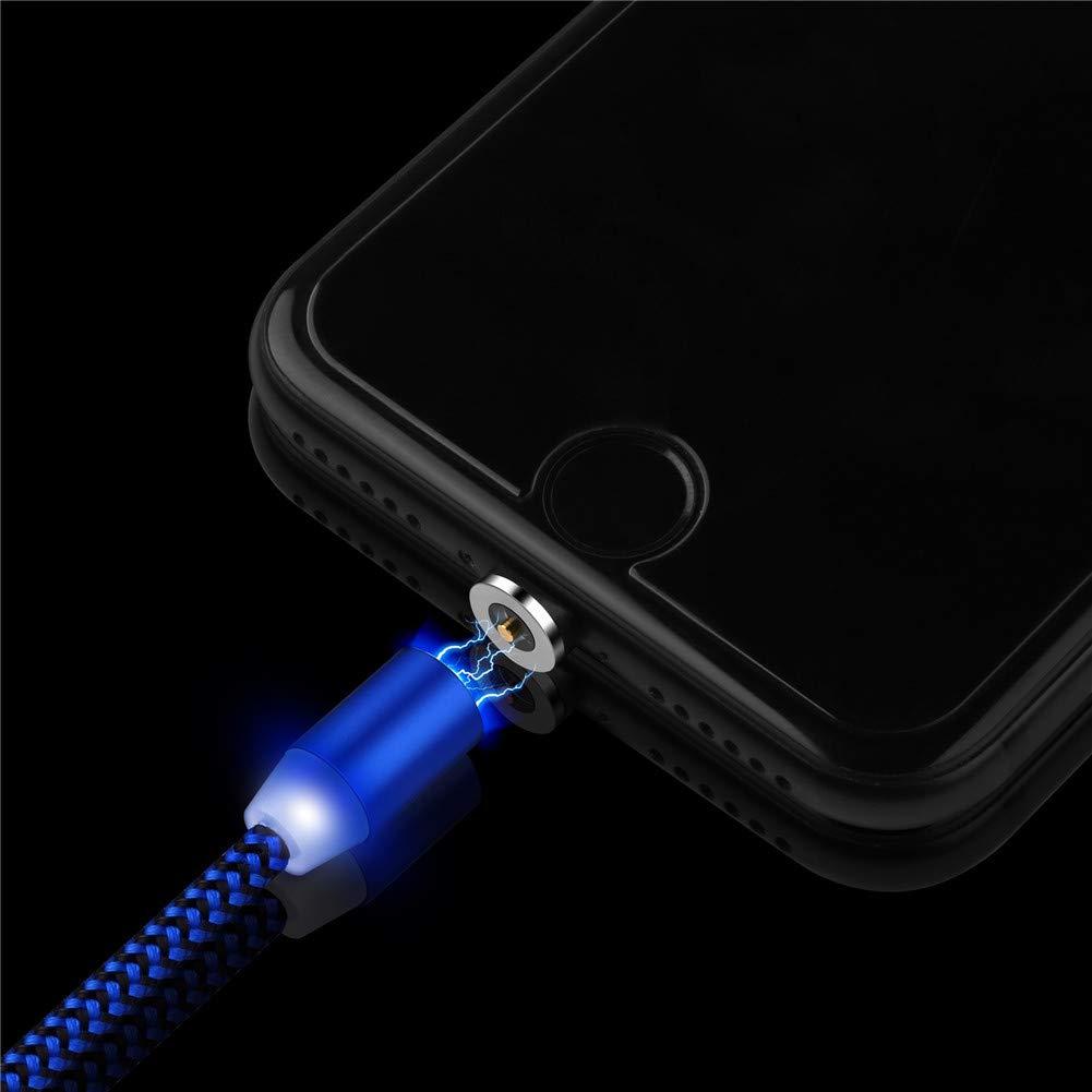 Ugi/® Magnetisches Telefon-Ladekabel 360-L-Formkabel mit LED-Licht 3er-Pack, 3,3 Fu/ß // 6,6 Fu/ß // 10 Fu/ß - Ohne Trinkgeld 3er-Pack, 3,3 Fu/ß, Schwarz + Silber + Rot