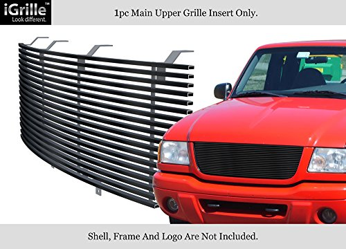 Fits 2001-2003 Ford Ranger Edge/XLT 4WD Stainless Black Billet Grille Open Top Only #F85324J (Ranger Ford Grille 2003)