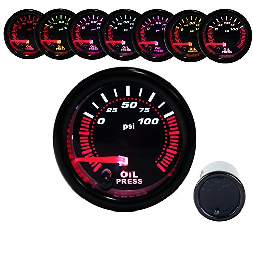 100 Psi Oil Press - Dewhel Oil Press Pressure Gauge Universal Meter 7-Colors LED 52mm 12V 0-100 PSI W/ sensor
