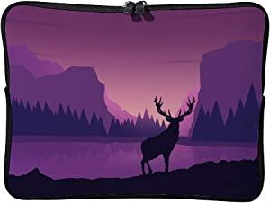 Purple Deer Silhouette Forest 15 Inch Protective Laptop Sleeve Ultrabook Notebook Carrying Case Compatible with MacBook Pro MacBook Air Notebook