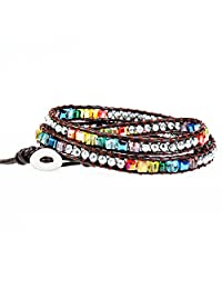 Handmade Multicolour 7 Chakra Balancing Crystal Bead with Hematite Stone Wrap Around Leather Bracelet for Women Adjustable