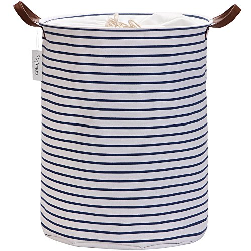 Hinwo 68L Large Capacity Laundry Hamper Canvas Fabric Laundry Basket Collapsible Storage Bin with PU Leather Handles and Drawstring Closure, 19.7 by 15.7 inches, Waterproof Inner Layer, Navy Stripe