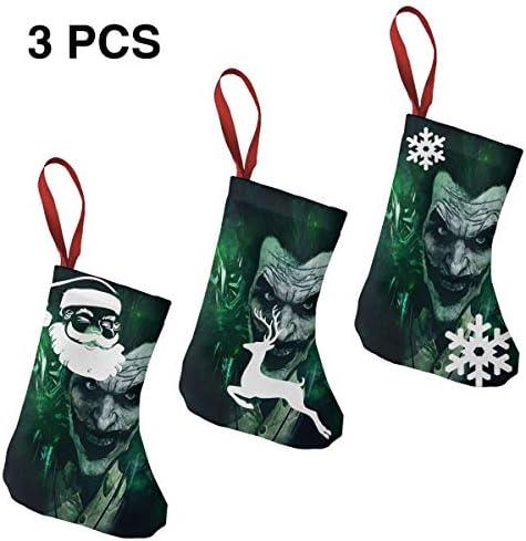 クリスマスの日の靴下 (ソックス3個)クリスマスデコレーションソックス Joker笑う クリスマス、ハロウィン 家庭用、ショッピングモール用、お祝いの雰囲気を加える 人気を高める、販売、プロモーション、年次式