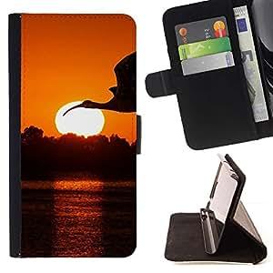 Momo Phone Case / Flip Funda de Cuero Case Cover - Crane Cigüeña Sunset;;;;;;;; - Sony Xperia Z5 5.2 Inch (Not for Z5 Premium 5.5 Inch)