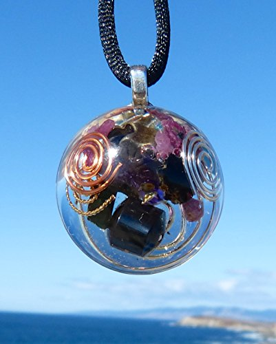 Bronze Shamrock, Amethyst, Hematite, Black Tourmaline and Ruby Positive Energy Orgone Dome Pendant with Copper and Silver Spirals. Hematite Dome