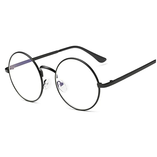 4ec27bb71fa Lovef Large Oversized Metal Frame Clear Lens Round Circle Vintage Eye  Glasses 5.42inch (Black
