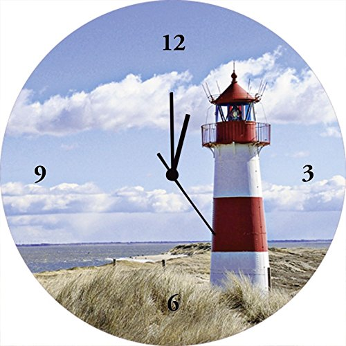 Artland Qualitätsuhren I Funk Wanduhr Designer Uhr Glas Funkuhr Größe: 35 Ø Gebäude Leuchtturm Blau J4JH