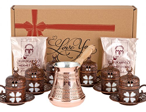 CopperBull Scarce as hen's teeth Turkish Greek Coffee Espresso Full Set with Copper Pot, Cups, Coffee for 6 (Antique Brown)