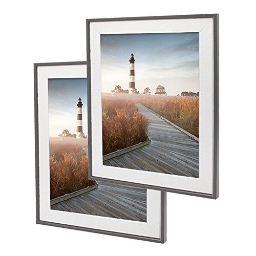 SUMGAR 10x12 Picture Frames Set -Made to Display Photos 8x10 with White Wooden Mat in Black Grey Thin - Glasses Frames Decorate