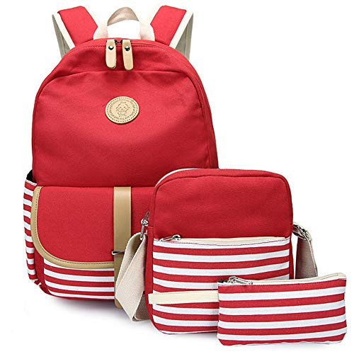 Girls' Canvas School Backpack Set,Miya Lightweight Teen Girl