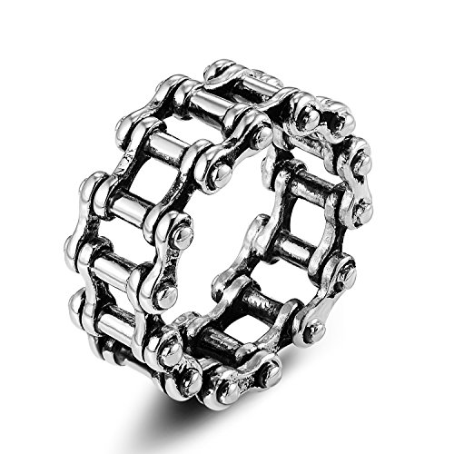 Denvosi Stainless Steel Ring Simple Bike Chain Punk and Rock Biker Ring for Men Size 14
