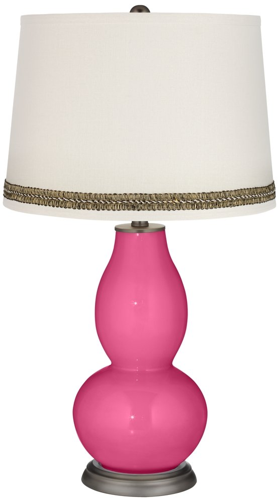 Blossom Pink Double Gourd Table Lamp with Wave Braid Trim