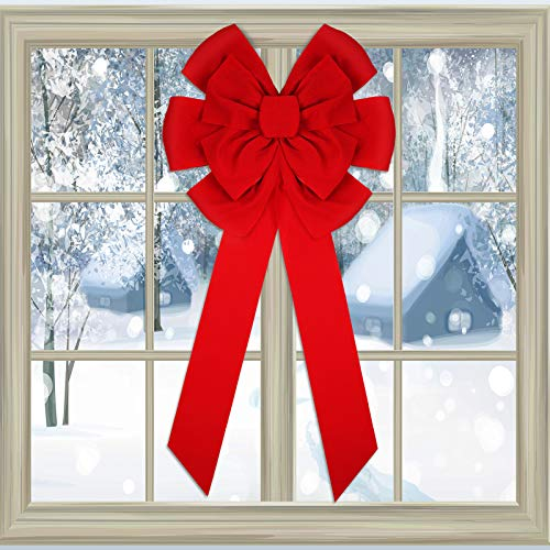 WILLBOND Christmas Red Velvet Bow 18 x 36 Inch Christmas Decorative Bows Christmas Tree Bow Large Christmas Bow for Christmas Indoor and Outdoor Decorations(2 Pieces)