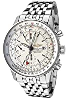 Breitling Men's Navitimer Automatic Mechanical GMT Chrono Silver Dial Stainless Steel