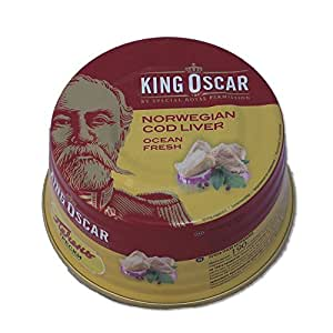 King Oscar Cod Liver in Own Oil, 6.67-Ounces Tins, 190 Gram, (Pack of 3)