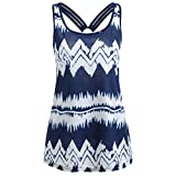 Sikye Ladies Women's Casual Chevron Printed Ring Bandage Sleeveless Tunic Tank Top Camisole Tee (Navy, L)