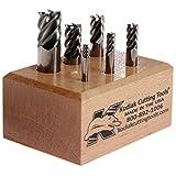 "Kodiak Cutting Tools I4-IGWY-Q0V1 USA Made High Performance Micrograin Carbide End Mill Set, 45 Degree Helix, 1/8"" to 1/2"", 5 Flute (Pack of 6)"