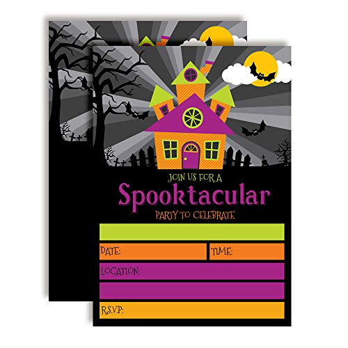 (Spooktacular Neon Haunted House Halloween Party Invitations, 20 5