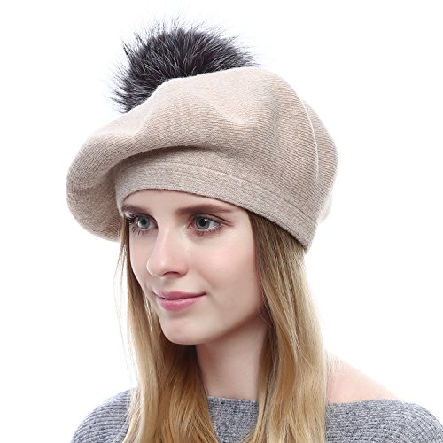 Queenfur Women Wool Beret - Real Silver Fox Fur Pom Pom Beanies Winter Knit Cashmere Hats (Beige)