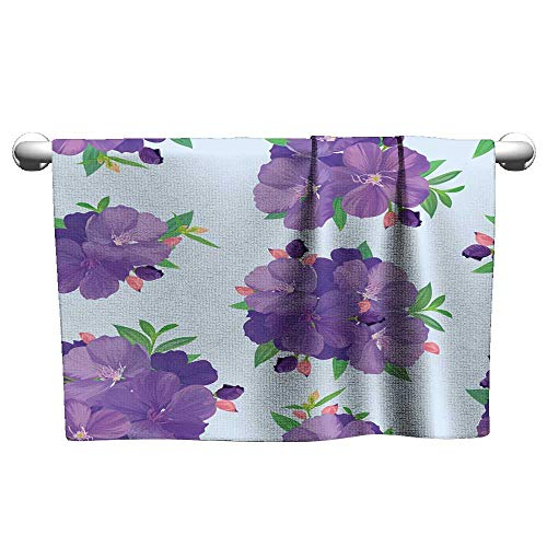 Tankcsard Baby Bath Towel Seamless Pattern with Beautiful Purple Princess Flower or tibouchina urvilleana and Leaf on Blue Background,Hooded Towel for Baby boy