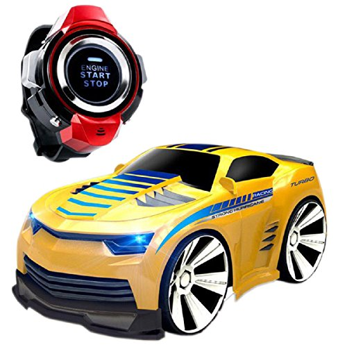 Megadream RC Remote Control Car, Electric Radio Voice Command Watch Controlled Sport Racing Vehicle – Rechargeable, Engine Start Sound, Headlights, Drift, Turbo for Kids Birthday Christmas Gift-Yellow