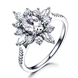 Moissanite Engagement Ring 14K Solid White Gold Floral Halo Vintage Bridal Ring Unique Gift for Women
