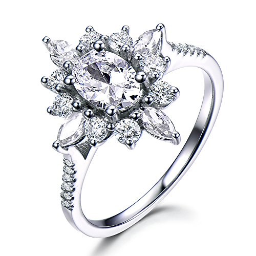 925 Sterling Silver White Gold Oval CZ Cubic Zirconia Floral Halo Vintage Engagement Ring Antique Retro by Milejewel CZ engagement rings
