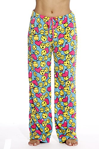6339-10130-S Just Love Women's Plush Pajama Pants - Petite to Plus Size Pajamas,Turquoise - Emoji ()