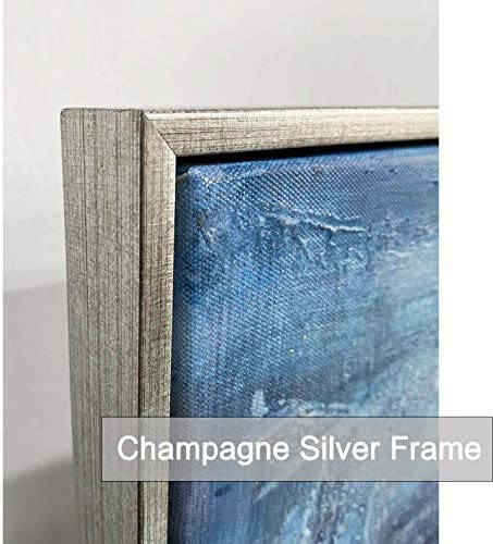 Abstract Texture Framed Wall Art: Horizon Canvas Picture Blue Artwork Painting Print