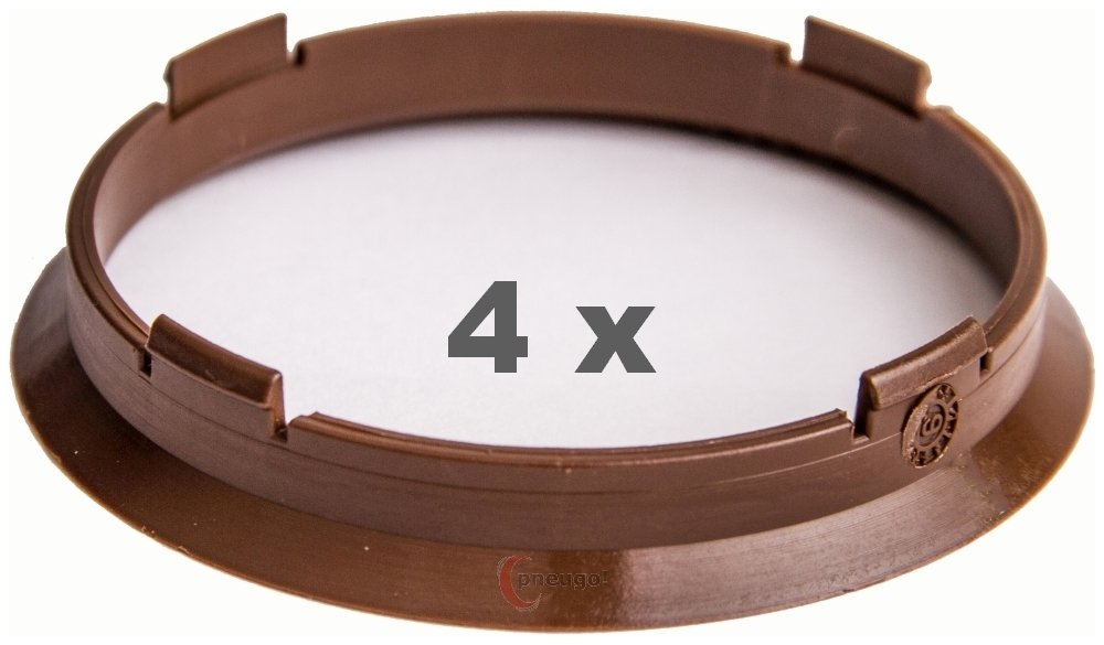 4 x Zentrierringe 70.4 mm auf 66.45 mm 66.6 dunkelbraun//dark brown