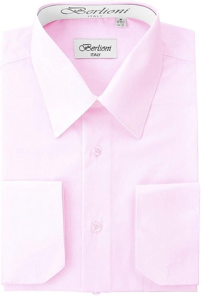 Berlioni Men/'s Convertible Cuff Solid Dress Shirt-black-4xl Sleeve 36//37