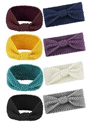 FIBO STEEL 8 Pcs Winter Crochet Headband for Women Warm Knitted Headwrap Wool -