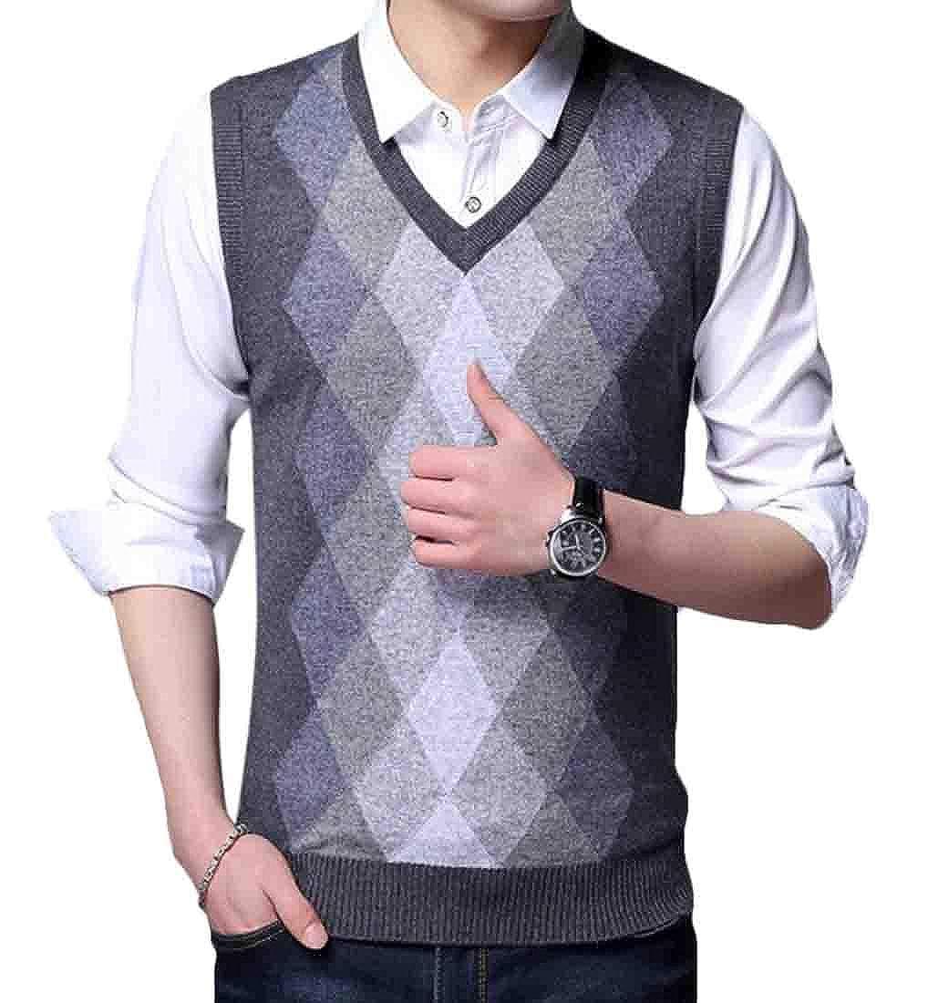 UUYUK Men Casual Slim Sleeveless V Neck Wool Knit Pullover Sweater Vest