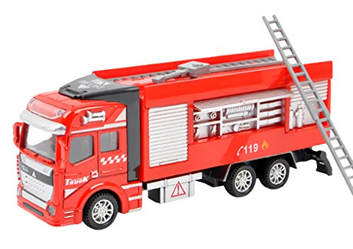 1:48 Scale Alloy Construction Vehicle Playset Pull Back Action Diecast Car Model Toys Fire Engine Rescue Water Cannon Truck Toy for Preschool Toddler Kids Children 3+ Years, Xmas Gift