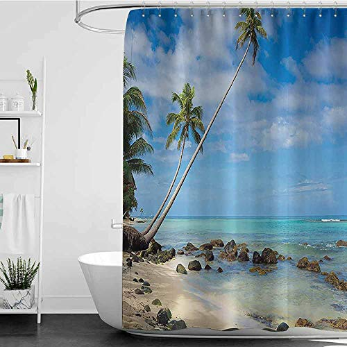 Shower Curtains Fabric Seaside Decor Collection,Tropical Beach with Rocks Cocononuts Palm on a Caribbean Island Panoramic Picture,Blue Teal Ivory W72 x L96,Shower Curtain for Shower stall