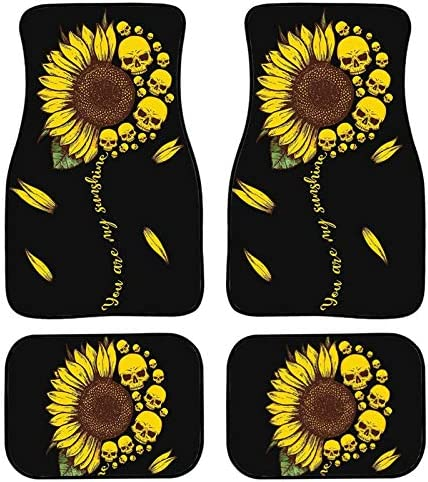 PHAYON Sunflower Skull Print Car Floor Mats Carpet Front and Back Full Set 4 Piece Pad Car Vehicle Universal Fit Car, SUV, Van & Trucks All Weather Protector Foot Mat Cushion Durable