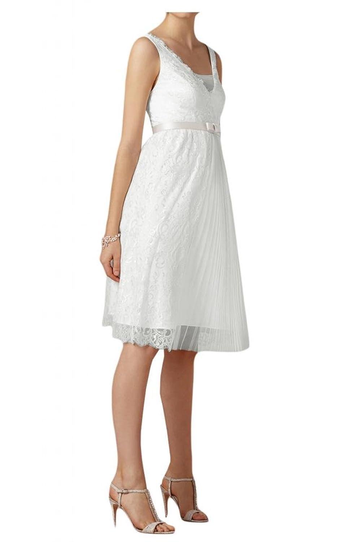 TOSKANA BRAUT Elegant V-Ausschnitt Knielang Abendkleider Kurz Spitze Braut Cocktail Party Ball Hochzeitskleider