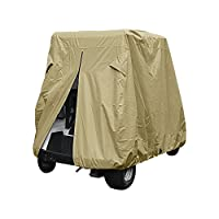 Golf Cart Cover, Waterproof 4-Passenger Golf Car Covers Roof Fits E-Z-GO, Club Car Precedent and YAMAHA Drive (Size: 112x48x66 in) (Olive)