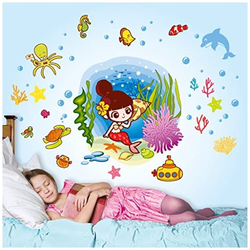 Decals Design 'Underwater Mermaid And Creatures' Wall Sticker