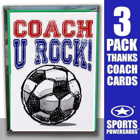 Play Strong SOCCER 3-PACK SOCCER Coach U Rock! SPORTS POWERCARD Greeting Cards (5x7) Perfect for youth team sports - expressing Thank You! - COACH will love it! #AllProfitsToHelpKids