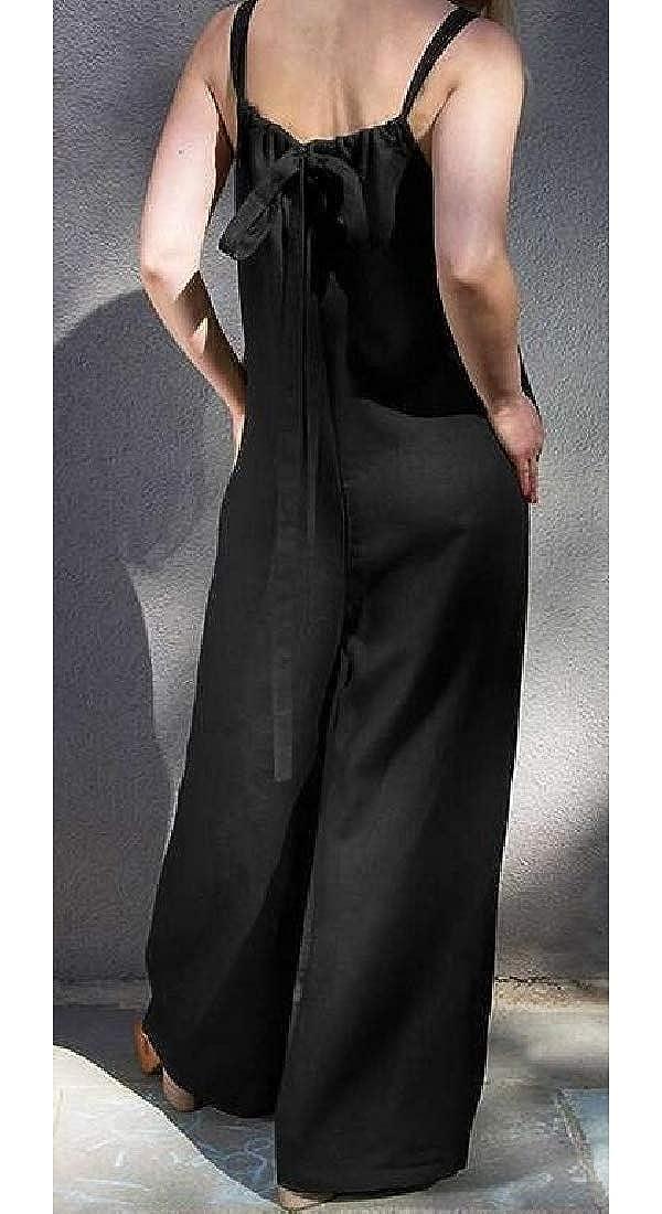 Wofupowga Women Spaghetti Strap Playsuit Sleeveless Romper Wide Leg Jumpsuit