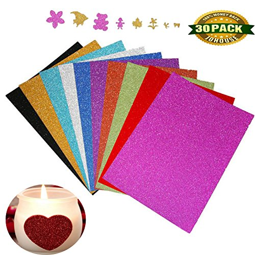 A4 Glitter Paper, Sparkles Self Adhesive Craft Vinyl Sheets Sparkling Sticker Metallic for Children's Craft Cutters Art Multicolor, 30 - Adhesive Decal Face