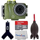 Intova DUB Photo & Video Action Camera (Forest) - SanDisk Ultra 32GB microSDHC UHS-I Card + Giottos AA1900 Rocket Air Blaster Large + Dual USB Car Charger 1000mAh Port + Photo4Less Cleaning Cloth