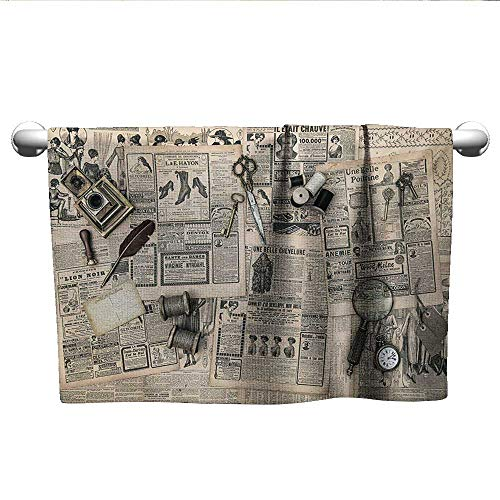 owels Antique Accessories Design Old Fashion Magazine Sewing and Writing Tools Print Sports Ttowel Beige and Black W 28