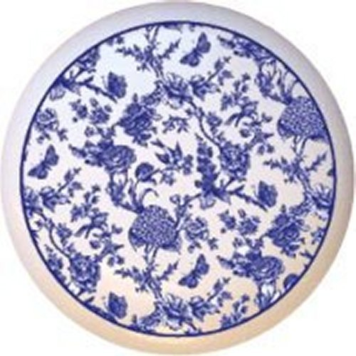 (Blue Toile Print Decorative Glossy Ceramic Drawer Pull Dresser Knob)