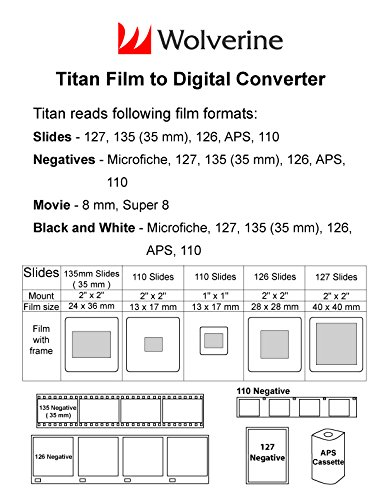 """Wolverine Titan 8-in-1 High Resolution Film to Digital Converter with 4.3"""" Screen and HDMI Output (Yellow)"""