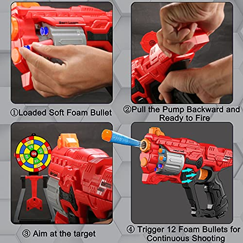 Toy Gun for Nerf Guns Bullets, Blaster Gun with 8-Dart Rotating Magazine 60 Foam Refill Bullets, Kids Toy Pistol for Indoor Outdoor Shooting Game, Birthday/Xmas Gift for Boys Girls 6-15 Year Old